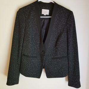 LOFT Gray and Black Printed Blazer